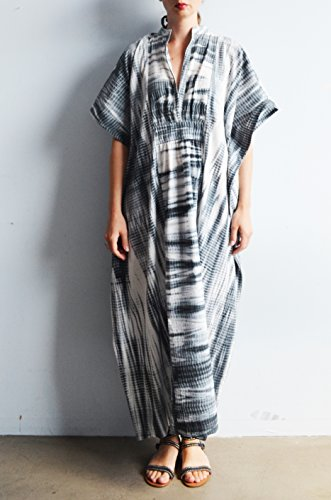 Shibori Cotton Kaftan in Grey and White