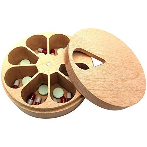 WBTY Caja organizadora de madera maciza, caja de pastillero giratoria portátil para 7 días, contenedor de pastillas multiusos para pendientes, caja de joyería y anillo