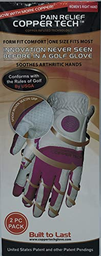 CopperTech Women's Golf Gloves 2 Pack(ONE Size FIT Most) Worn on Right Hand for The Left Handed Golfer White/Fuchsia