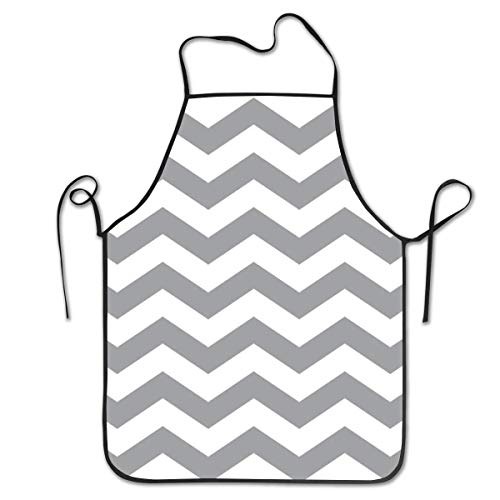Lawenp Adjustable Bib Apron Seamed Apron,Gray and White Chevron Pattern Cooking Kitchen Aprons for Women Men Chef,BBQ 28.3 x 20.5 Inches