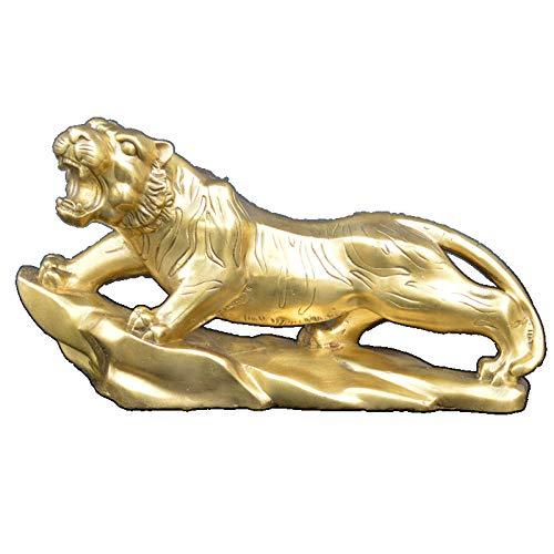 ZAQWSXCDE Figura Escultura Decorativa Estatua De La Escultura Estatuillas Decoracion Tigre De Latón Decoración Animal Hogar Vino Estante Decoración Artesanías