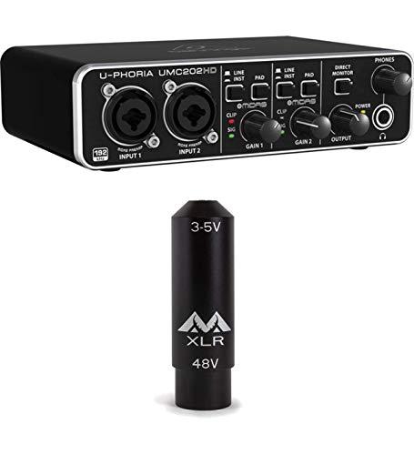 Behringer U-PHORIA UMC202HD USB 2.0 Audio Interface Bundle with Antlion Audio XLR to 3.5mm Female TRS Adapter with Power Converter - Recording Bundle