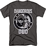 DreamWorks Dangerous - Boris & Natasha Distressed - Rocky & Bullwinkle Adult T-Shirt, Medium Gray