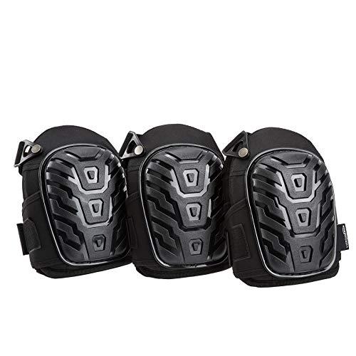 Amazon Basics - Rodilleras profesionales, relleno de espuma resistente, cómoda almohadilla de gel, con clips fácilmente ajustables, negro, 3pares