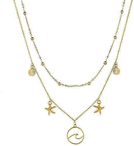 NC110 Collar Collar Bohemio Mapa de Concha de Luna Collares de Perlas para Mujer Collares y Colgantes de Plata Multicapa y Oro Joyas YUAHJIGE