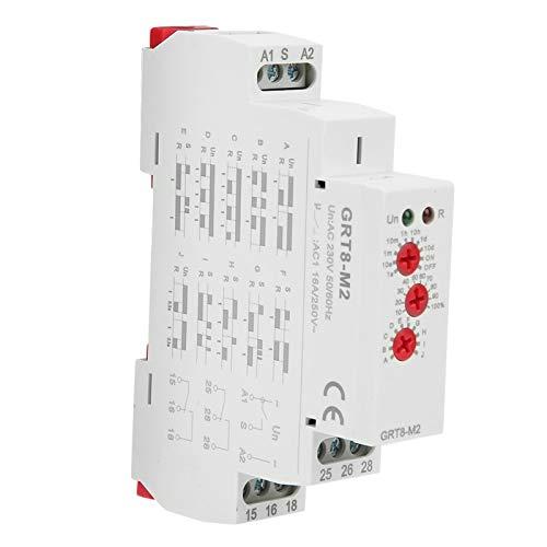 EVTSCAN Último relé de tiempo de retardo multifuncional GRT8-M2 AC 220V, con 10 funciones Montaje en riel DIN para equipos industriales, Control de iluminación, Control de elemento calefactor, Motor,