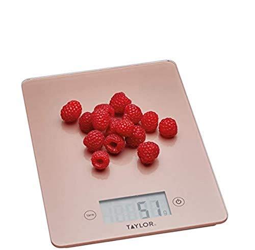 Taylor Pro Balanza Digital de Cocina de Diseño fino, Función de Peso con Tara, Nivel Profesional con Alta Precisión, Compacta, Oro Rosa y Vidrio, 5 kg de Capacidad