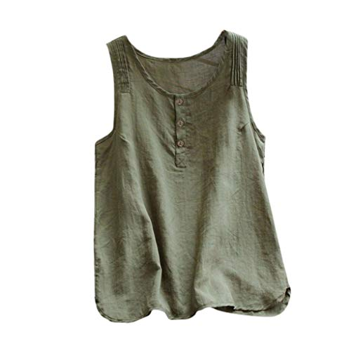 Janly - Blusa sin mangas para mujer, estilo casual, talla grande, de lino, estilo vintage, sin mangas, suelta, para mujer, verde, M