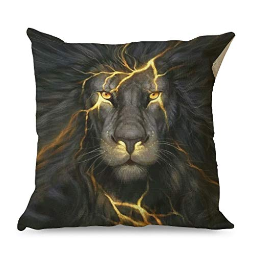 OwlOwlfan Lion Lightning Pillow Cover Soft Skin-friendly Home Decor Square Pillowcases for Guest Room Children's room Resort white 45x45cm
