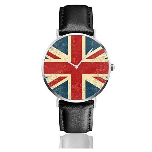 Reloj de pulsera minimalista de cuarzo con correa de cuero de la vendimia del Reino Unido Jack