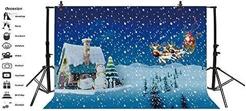 Baocicco Vinyl 7x5ft Merry Christmas Backdrop Winter Snowscape Photography Background Gingerbread House Santa Claus Deer Sleigh Snowman Snowflake Children Kids Adult Portraits Studio Props