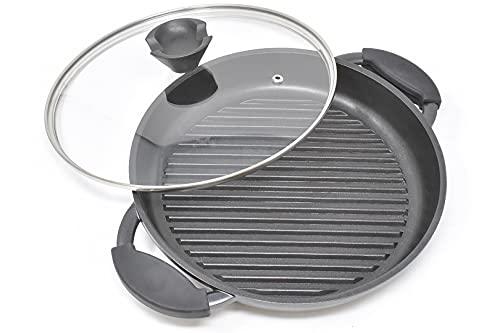 joeji's Kitchen Padella Tonda in Alluminio pressofuso | Piastra Antiaderente da 27 cm per Cucinare | Padella Grande Nera Migliore delle padelle in ghisa