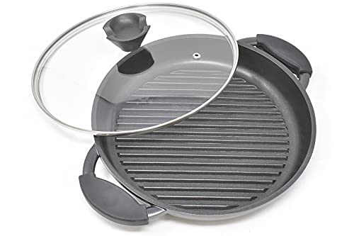 Joeji's Kitchen Round Cast Aluminium Griddle Pan | 27cm Non Stick Griddle Pan for Cooking | Black Large Frying Pan with Lid