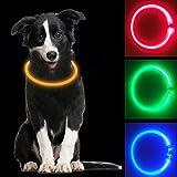 MOCOLI Collier Lumineux pour Chien, LED Collier Chien Lumineux Rechargeable avec 3 Mode, Coupe Ajustable à la Taille Collier Chien LED pour la Nuit à Pied-Amélioration de la sécurité (Orange)