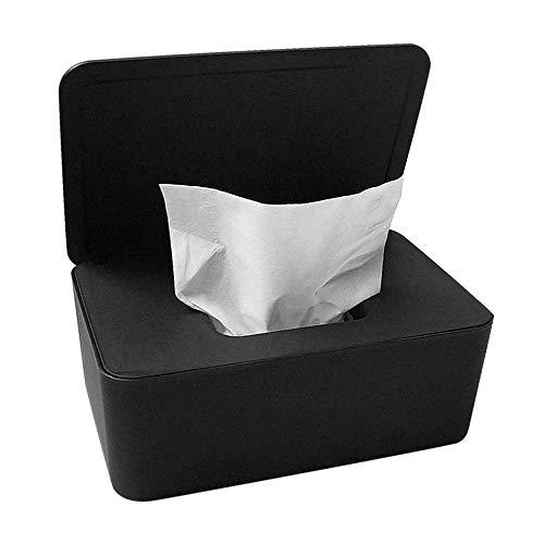 Gobesty Feuchttücherbox, Schwarz Baby Feuchttüchter Aufbewahrungsbox Baby Wipes Dispenser Tücher Fall mit beschwerter Platte Für Home Office Outstanding, 18,5 x 12,2 x 7cm