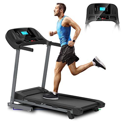 ArtGo Vincent Cinta de correr eléctrica plegable, velocidad máxima 16km/h 3,5HP máxima, 12 programas, soporte para tablet, altavoces con conexión USB/MP3/SD, sensor cardíaco, 2 niveles de inclinación