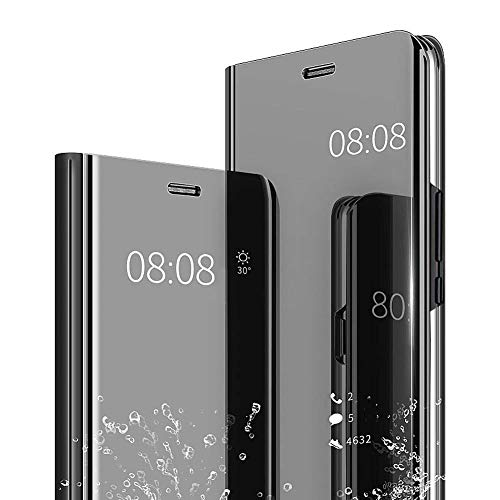 Espejo Funda para iPhone 5 / SE / 5S 4.0 Pulgadas YKTO Ultra Slim Plegable Standing Cover Clear View Elegante Brillante Plating Translúcida Mirror Caso Anti-Scratch PC Hard Bonita Cárcasa Negro