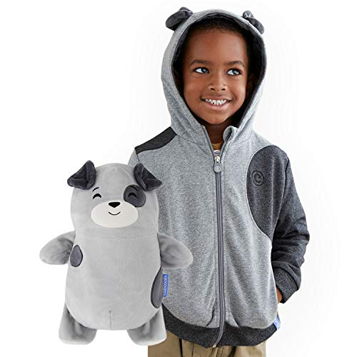 Cubcoats Pimm The Puppy - 2-in-1 Transforming Hoodie and Soft Plushie - Charcoal with Dog Spots