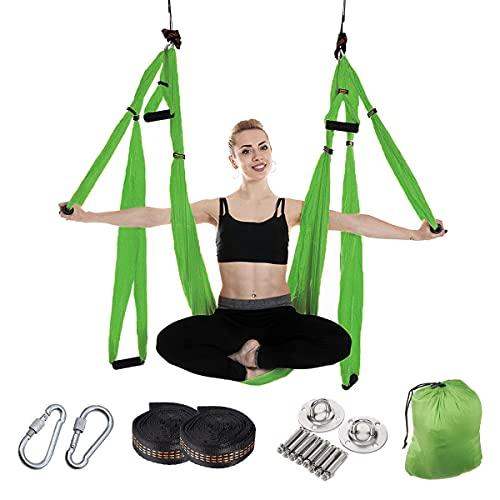 Sinbide Hamaca de Yoga Aerial Juego de Columpio de Yoga Aéreo con Accesorios para Gimnasio Antigravedad Yoga Trapecio Hamaca Swing Yoga Trapecio Plano para Pilates Fitness (Verde, 250x150mm)