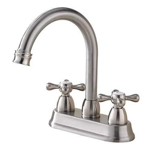 SHACO Best Commercial Brushed Nickel 2 Handle Centerset bathroom faucet, Stainless Steel Bathroom...