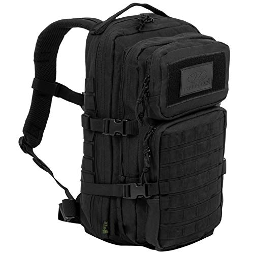Highlander Military Tactical Assault Backpack – The Recon 28L Waterproof Daysack with Multiple MOLLE Attachment Points for Extra Accessories and Equipment – Black