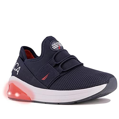 Nautica Kids Toddler Light Up Flashing Sneaker Athletic Slip-On Bungee Running Shoes Boy-Girl Toddler Little Kid-Neave Buoy Light-Navy Red-12
