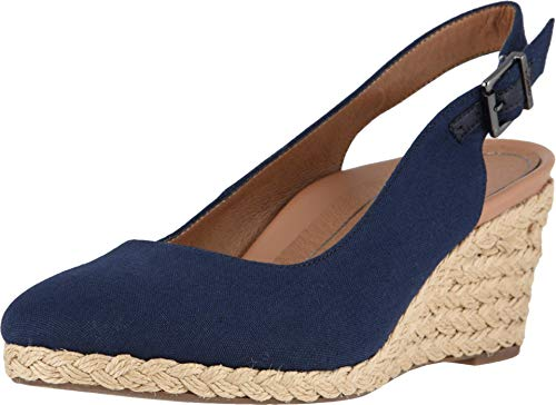 Vionic Women's Aruba Coralina Slingback Wedge - Espadrille Wedges with Concealed Orthotic Arch Support Navy 8 Medium US