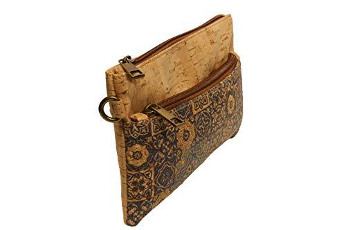 Bolso de mujer para llevar el tabaco, estuche para niña, maquillaje de viaje con cremallera, elegante corcho natural con cremallera (Jag-Indi)