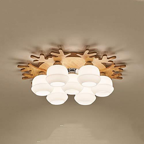 Lámpara de techo Nordic Simple Deer 7 Head Solid Wood Comedor Cuarto de comedor Tamaño 70 cm * 18 cm lámpara de araña Iluminación Iluminación Restaurante Dormitorio Estudiar Estudiar Sala de estar Dec
