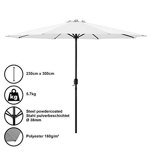 [casa.pro] Sombrilla Ø 300cm [blanca] con manivela parasol para jardín, terraza, balcón...