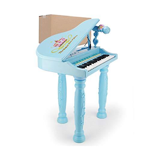 AAFF Kinder Spielzeug Grand Piano, Keyboard Hocker Mikrofon Little Princess Bildung Spielzeug-Klavier Unterstützung, Multifunktions-Mini-Musikinstrument Kleine Kinder Mikrofon,B