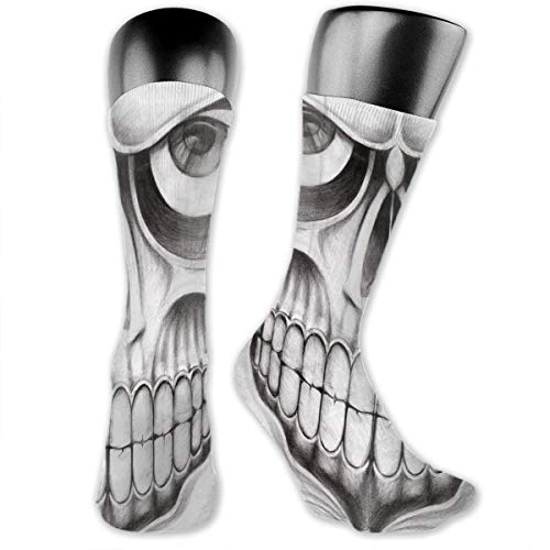 vnsukdlfg Compression Medium Calf Socks,Scary Skull Face Angry Expression Festive Art Image