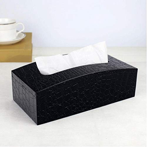 ZJHDX rechthoekige lederen gezichtsdoek doos handdoek rek voor thuis kantoor, auto auto decoratie (zwart)