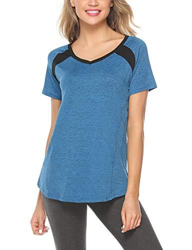 iClosam Damen T-Shirt Atmungsaktives kurzärmliges Trainingsshirt mit Loser Passform