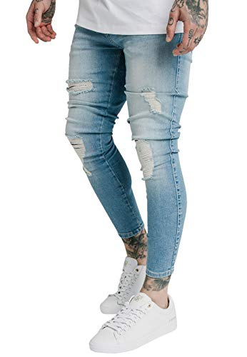 Sik Silk Jeans Herren Distressed Skinny Denims SS-19353 Light Wash, Größe:S