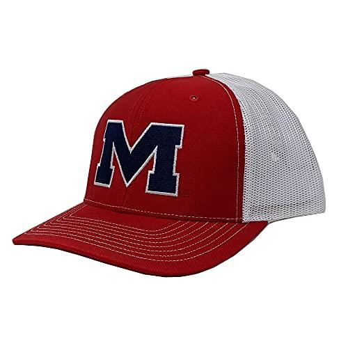 Speckle Bellies Collegiate Meshback Snapback Hat (Block M - Red/White, Ole Miss)