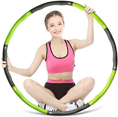 Yarmy Hula Hoop zur Gewichtsreduktion,Reifen mit Schaumstoff ca 1.3 kg,Gewichten Einstellbar Breit 75-95 cm(29.5-37.4 Zoll),Beschwerter Hula-Hoop-Reifen für Fitness Massage(4 Knoten Grün + Grau)