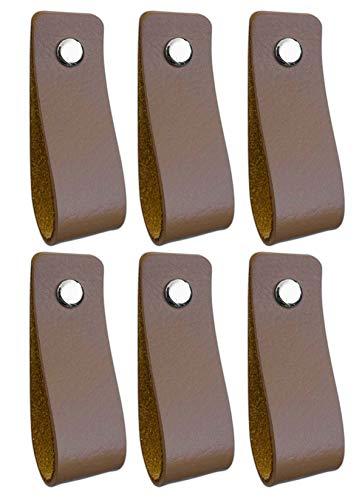 Brute Strength - Tirador de cuero - Gris topo - 6 piezas - 16,5 x 2,5 cm - incluye tres colores de tornillos por manija de cuero para los gabinetes de cocina - baño - gabinetes