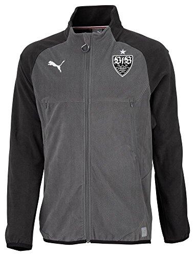 Puma Fußball VfB Stuttgart Fleece Trainingsjacke Sportjacke Kinder schwarz dunkelgrau Größe 140