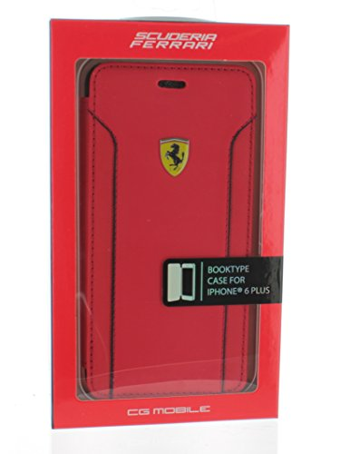 Ferrari Fiorani - Custodia a Portafoglio in Pelle Sintetica per iPhone 6 Plus, Colore: Rosso