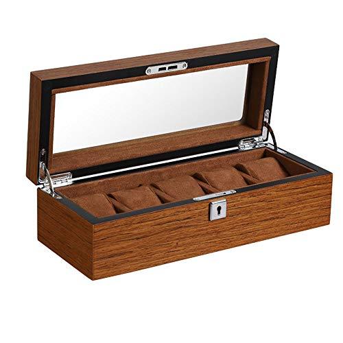 SHU XIN Uhrenkasten Holz mattierte Holzmaserung mit Schloss Uhr Aufbewahrungsbox Fenster Display Box mehrstellige Auswahl transparente Oberlicht einfache Form