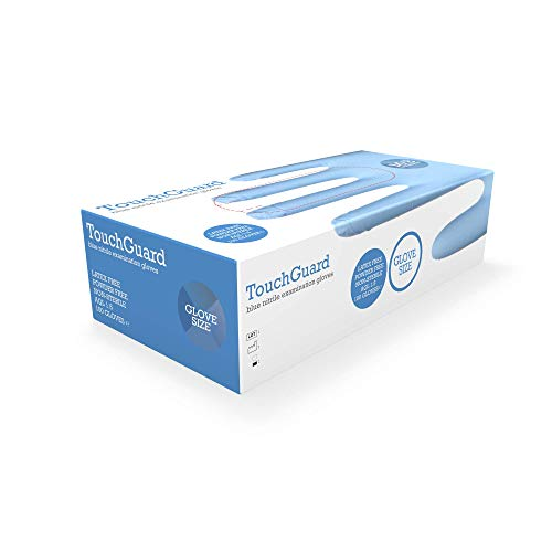 TouchGuard - Guantes de nitrilo azules desechables sin polvos ni látex, caja de 100 unidades, medianos