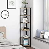 HOMECHO 6 Tier Corner Shelf, Industrial Corner Bookcase Small Display Rack, 65.4 inch Tall Storage Shelf Stand, Multipurpose Shelving Unit for Home Office, Rustic Brown