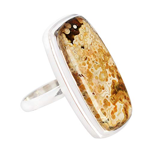 Anillo ajustable de jaspe natural océano, plata de ley 925 maciza, regalo para esposa, joyería para mujer FSJ-3726