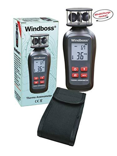 Windboss® Windmesser mit Thermometer für Surfen, Segeln, Kiten und alle weiteren Aktivitäten mit Wind. Mit Stativgewinde und Schutztasche.