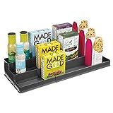 mDesign Especiero para armario de cocina o encimera – Estante extensible para almacenar condimentos y ordenar la cocina – Organizador de especias en plástico con tres niveles – gris pizarra