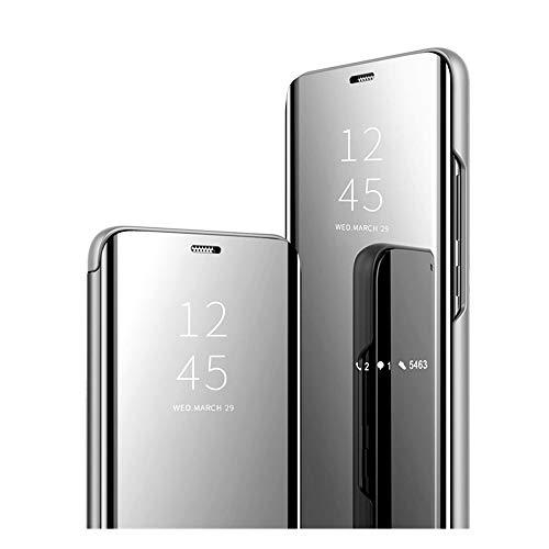 Kompatibel mit Samsung Galaxy S8 Hülle, Mirror Make-Up Schutzhülle, Luxury Smart Mirror Klare Sicht Flip Cover Slim Stand Full Body Anti-Shock-PC (Harte hülle) Galaxy S8 Clear Schutzhülle. (Silber) …