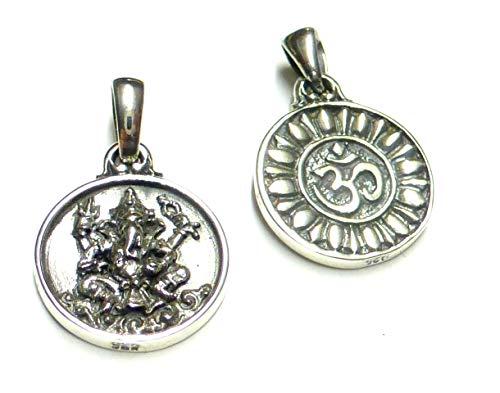 Kettenanhänger, Anhänger Silber Motiv Ganesha, als Schutzsymbol und Glücksbringer zu tragen,aus 925% Sterling Silber gearbeitet, Geschenk, Schmuck, Unisex