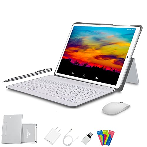 Tablet 10 Pulgadas 4G FHD 64GB de ROM 4GB de RAM Android 10.0 Certificado por Google GMS Tablet PC Baratas Quad Core Tableta Batería 8000mAh Dual SIM 8MP Cámara WiFi, Bluetooth, GPS, OTG(Plata)