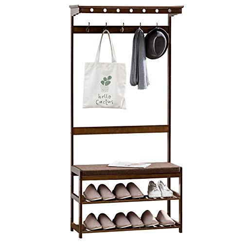 Medla Kleiderständer aus Bambus, Garderobenständer mit Schuhablagen, Flurgarderobe mit Sitzbak und 5 Haken, für Flur Wohnzimmer Büro Hotel,79×30×171.8cm